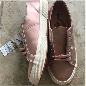 Superga satin pink sneakers shoes new with tags